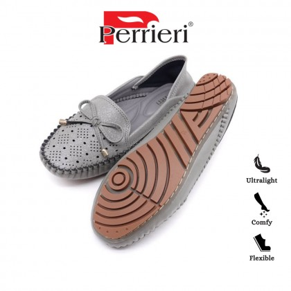 Perrieri Comfortable Ladies Moccasins Flats Shoes 60703 (Grey/Pink)