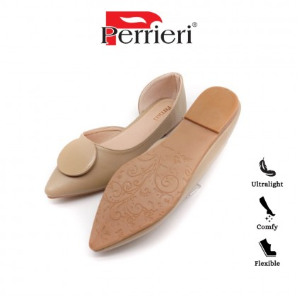 Perrieri Fashionable Ladies Point-Toe Flat Shoes 60707 (Apricot/Pink)