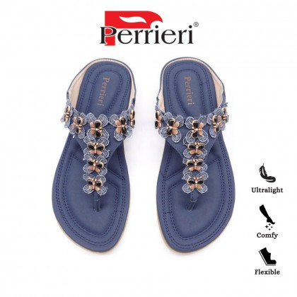 Perrieri Ladies Comfortable Casual Sandals with Butterfly Beads 60719 (Blue/Brown)